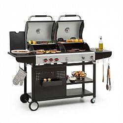 Klarstein Hot & Hot, kombinovaný gril, 8,5 kW, 3 hořáky, výškově nastavitelný, černý