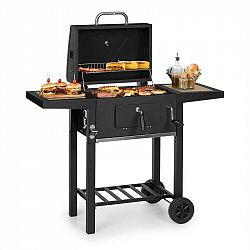Klarstein Meat Machine, gril na dřevěné uhlí, 45 x 32,5 cm, teploměr, kolečka, černý